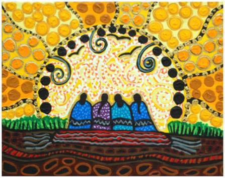 Native american art, four women watching sunrise.